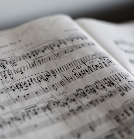 Sheet music, giving students the opportunity to learn music theory.